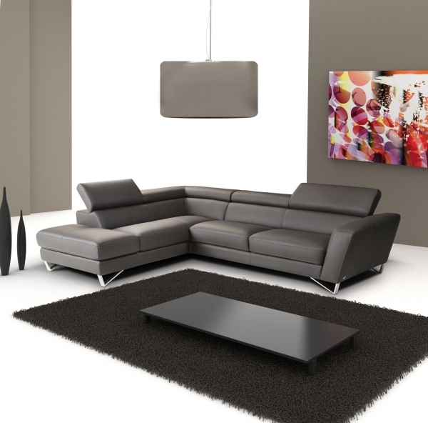 Contemporary Leather Sofa|Contemporary Leather Sofa|Contemporary Leather Sofas|Modern Leather Sofas| Furniture Chrome Metal Triangle Legs And Gray Sectional Faux Leather Sofa 70