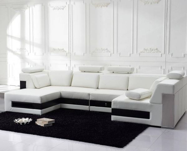 Contemporary Leather Sofa|Contemporary Leather Sofa|Contemporary Leather Sofas|Modern Leather Sofas| White Design With Accent Black Rug Nice Living Room Decor 84