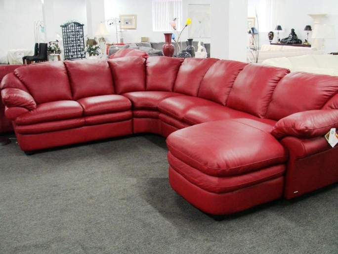 Natuzzi Leather Sectional Red Leather Loveseat  Photo