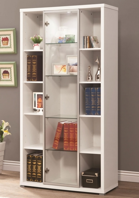Open Shelving Units Living Room Furniture Modern White Wooden Book Case Wall Cabinet 9