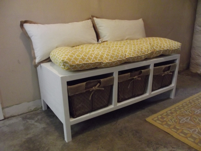 Storage Bench White With Baskets From Ana White Photos