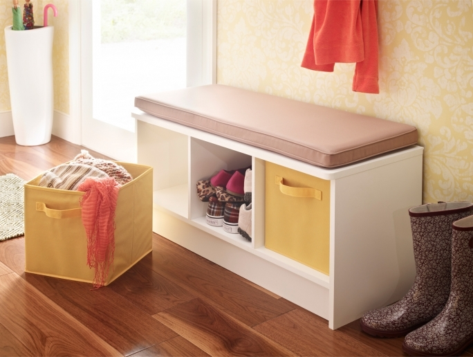 White Storage Bench With Baskets For Nice Room Ideas Photos