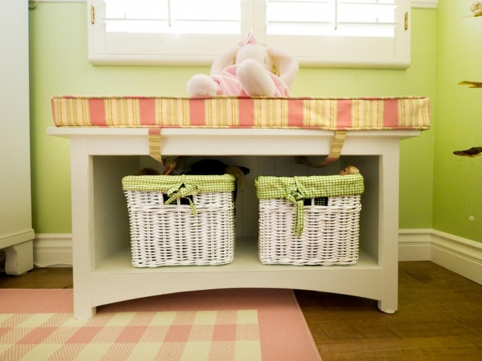 White Storage Benches With Baskets Hgtv Original Child Style Little Girls Room Pictures
