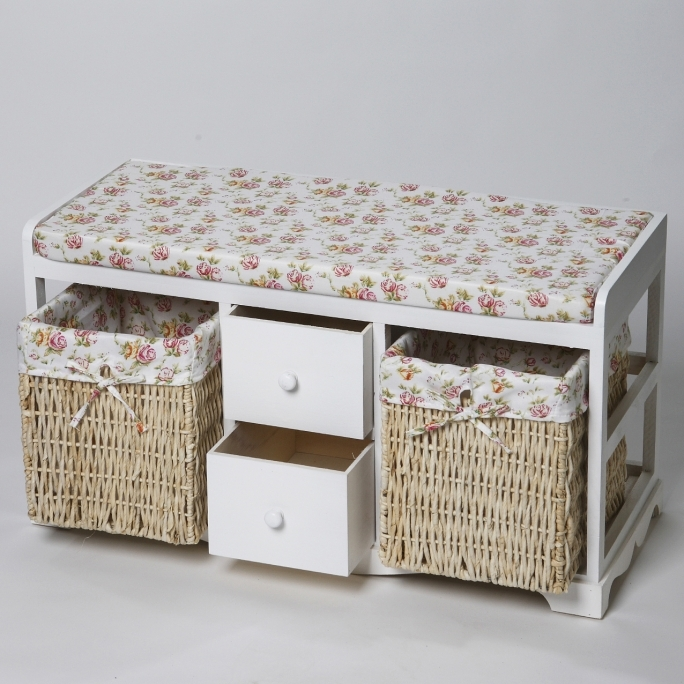 White Storage Benches With Baskets White Storage Bench With Rattan Baskets Interior Amp Exterior Pictures