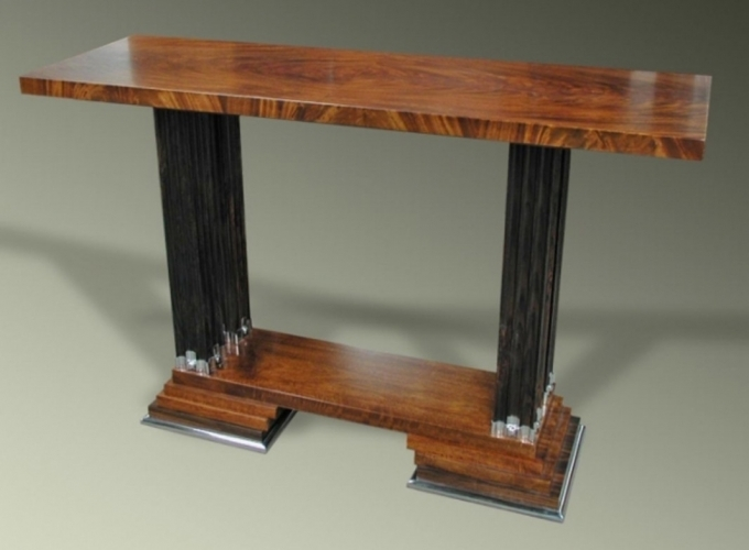 Art Deco Furniture Style Reproductions Console Table Ribbed Column Base Image