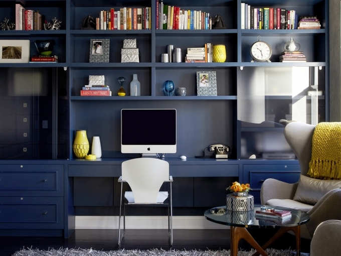 Bookshelf Decorating Ideas With Dark Blue Bookshelf And Modern Metal Chairs Design Images