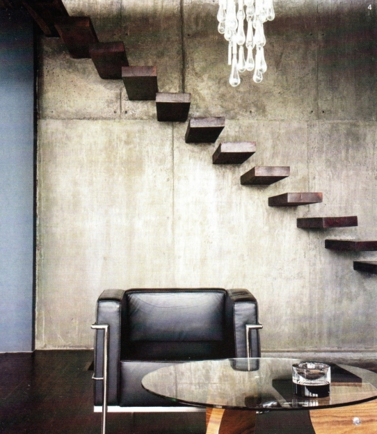 Floating Stair Kits Cement Staircase As Rustic Over Single Retro Black Leather Sofas Pictures