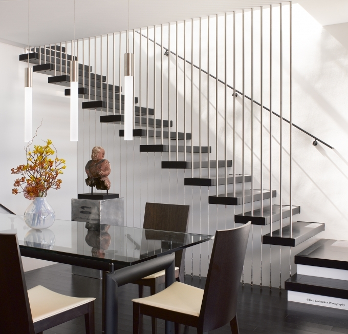 Floating Stairs Construction Beside Dining Room Image