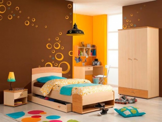 Painted Bedroom Furniture Colorful Kids Bedroom With Lovely Pendant Chalk Image