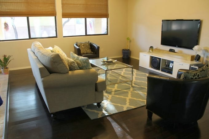 Small Media Room Design Ideas With Simple Flooring And Glass Coffee Desk Also White Couch 19