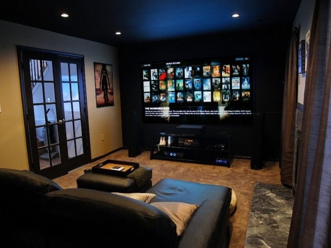 Small Media Room Ideas On A Budget With L Shape Black Leather Sofa And Big Projector 47