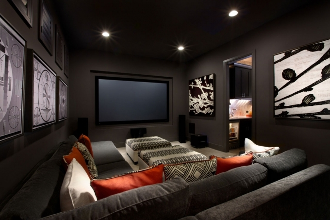 Small Media Room Ideas With Grey Fabric Sofa And Minimalist Ceiling Light Design 06