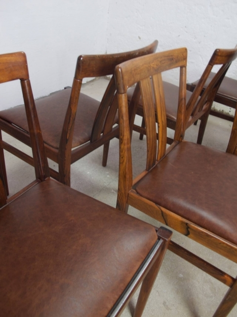 Vintage Brown Leather Dining Chair 8 Danish Rosewood Image