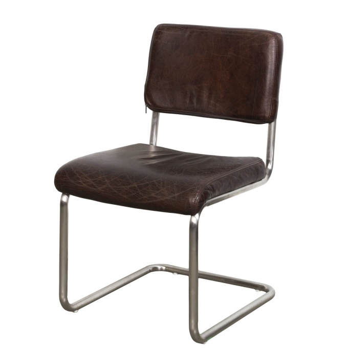 Vintage Brown Leather Dining Chair Cobain With Stainless Steel Images
