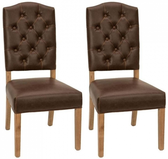 Vintage Brown Leather Dining Chair Morris Padded Back Brown Leather Pair  Image