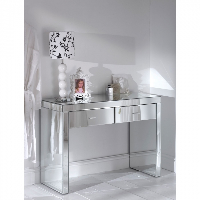 Mirrored Hallway Furniture Add Larger Dimension Of Room With Mirrored Table Picture