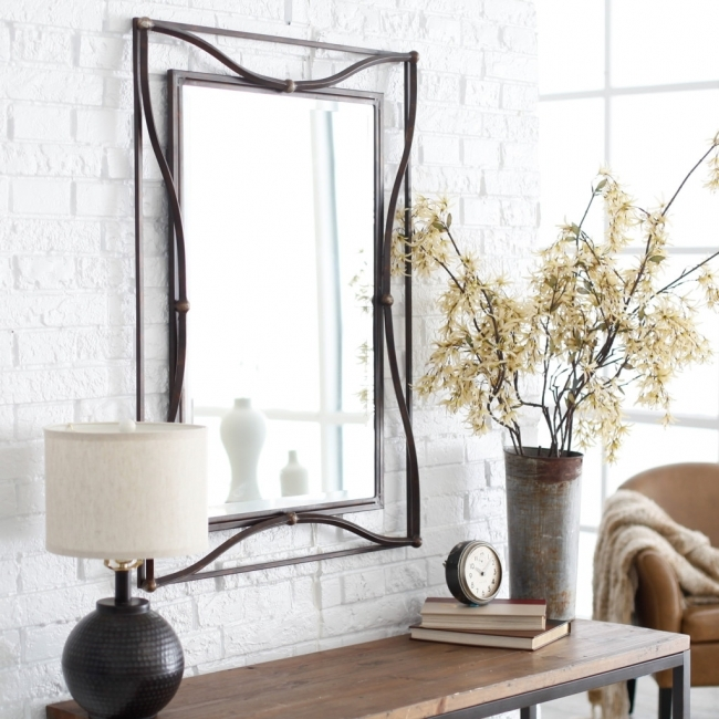 Mirrored Hallway Furniture Beautiful Square Mount Mirror And Brown Wooden Table As Well As White Brick Exposed Wall Decors Pictures