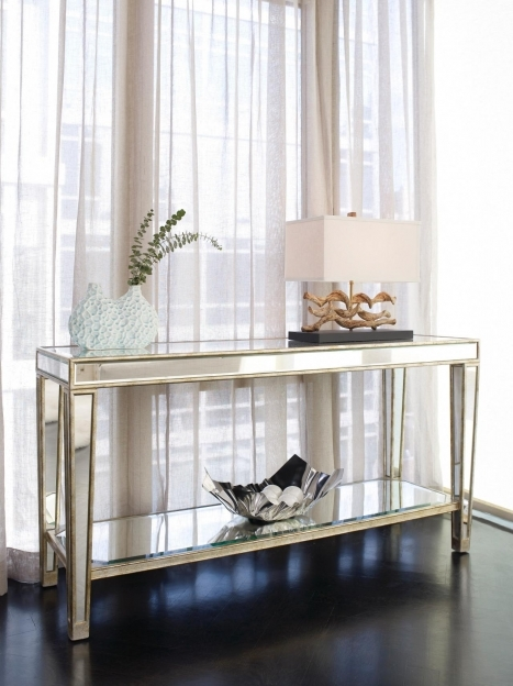 Mirrored Hallway Furniture Entry Narrow Mirrored Console Table With Storage And Shelf Photo