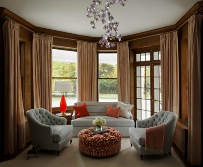 Overwhelming Contemporary Window Treatments For Bay Windows For Romantic Living Room Ideas Image